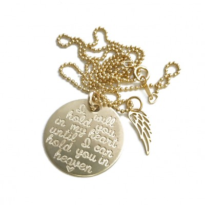 SOLID GOLD Memorial Necklace // 18k Gold Necklace // I Will Hold You In My Heart Until We can Hold You In Heaven With Wing Engraved Jewelry