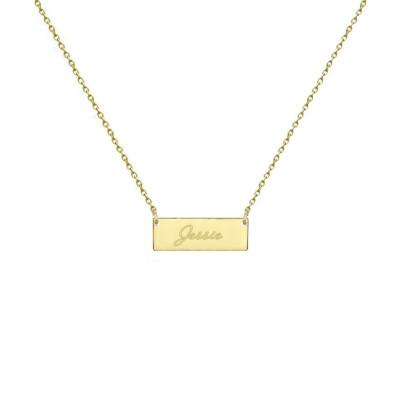 Sale 18k solid gold Bar Necklace Engravable Bar necklace 1/2 inch Bar necklace Tiny Nameplate Any Engraving
