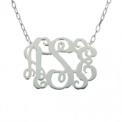 Sale Personalized Monogram 1.5 inch Sterling Silver Monogram Necklace Any Initial Monogram Necklace Name Pendant