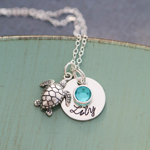 Sea Turtle Necklace Bridesmaid Gift • Sterling Silver Turtle Charm Beach Wedding •Tropical Turtle Gift Beach Jewelry Summer Gift