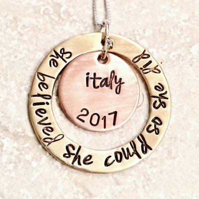 She Believed She Could So She Did, Valentine For Her, Personalized Graduation Necklace, High School Graduation Gift, College Graduation Gift