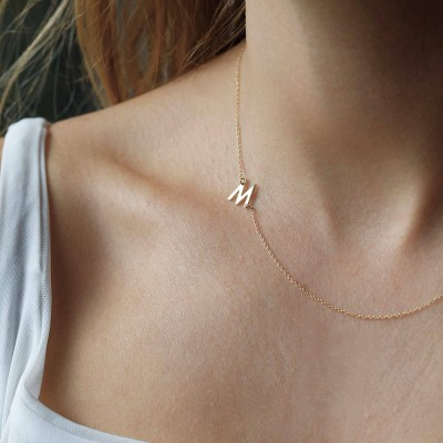 Sideways Initial Necklace, Gold Initial Necklace, Personalized Necklace, Gold Personalized Necklace, Initial Necklace Gold, Initial Necklace