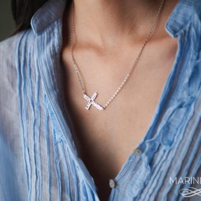 Sideways cross name necklace - Personalized necklace -