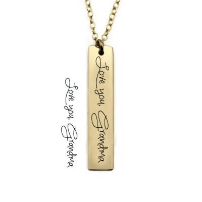Signature Bar Necklace - Vertical Handwriting Bar Necklace - Memorial Necklace - Signature Bar Necklace - Custom Handwriting