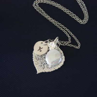 Silver Aspen Leaf Necklace Personalized, Silver Leaf, Silver Initial Charm, Silver Necklace, Monogram, Bridesmaid Gift, Aspen, Pearl