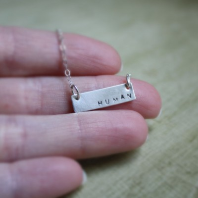 Silver Human Necklace - Stamped Bar Necklace - Silver Pendant Necklace - Sterling Silver Jewelry - Lightweight Everyday Jewellery