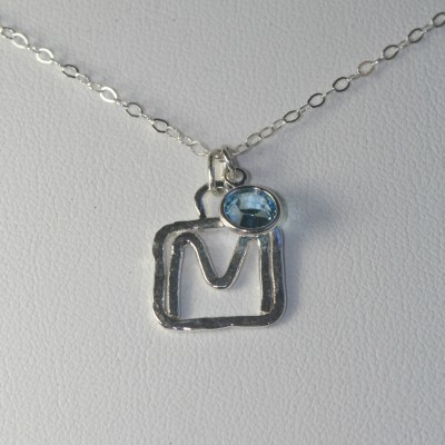 Silver Initial Necklace, Letter M Pendant, Birthstone Charm, Custom Necklace Women, Initial Necklace Sterling Silver, Personalized Jewelry,