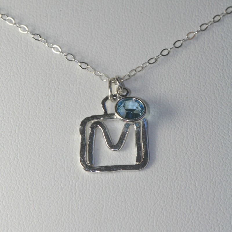 Silver Initial Necklace, Letter M Pendant, Birthstone Charm