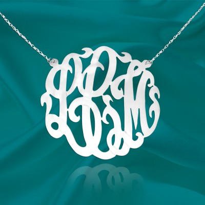 Silver Monogram Necklace - 1.5 inch Personalized Initial Monogram Necklace - Made in USA