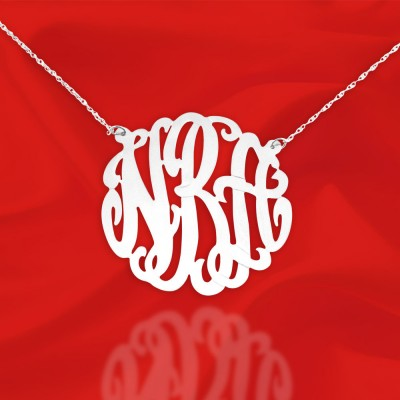 Silver Monogram Necklace - 1.25 inch Personalized Initial Necklace - Handcrafted Designer - Monogram Initial Necklace - Made in USA