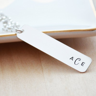 Silver Monogram Necklace - Silver Bar Necklace - Mother's Day Jewelry - Hand Stamped Personalized Initial Necklace - Monogram Jewelry
