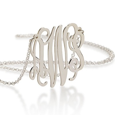 Silver Monogram Necklace 1.75 Inch - Sterling Silver