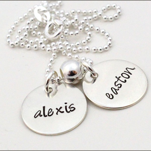 Silver Two Name Necklace | Sterling Silver Disc Necklace, Gifts for Mom of 2, Personalized Mom Jewelry, Custom Name Necklace, Gifts for Mom