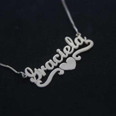 Silver name necklace /Graciela Lover style Necklace / Any Name / Gift / Love Necklace / Personal Jewelry Design / Necklaces / Name Jewelry /