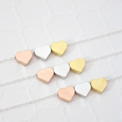Sister Necklaces for 3, Big Sister, Middle Sisters, Little Sister, 3 Sisters Jewelry, Gold Sister Necklace, Sisters Necklace Set of 3 Hearts