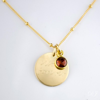 Sister necklace with birthstone, engraved disc necklace, gold necklace, sterling silver disk, christmas gift for sister, engraved