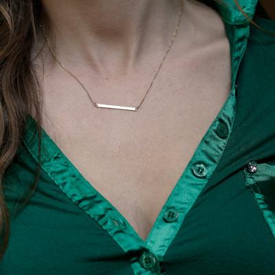 Skinny Bar Necklace, Bar Necklace Gold, Personalized Bar Necklace, Gold Name Bar Necklace, Sideways Bar Necklace, 18k GOLD bar necklace