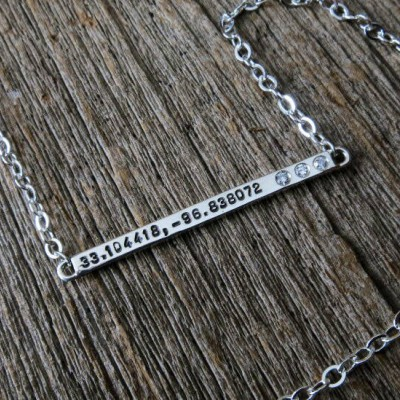 Skinny Silver or Solid Gold Nameplate Necklace Personalized with Diamonds and Hand Stamped Coordinates Custom Women's Jewelry MetalPressions