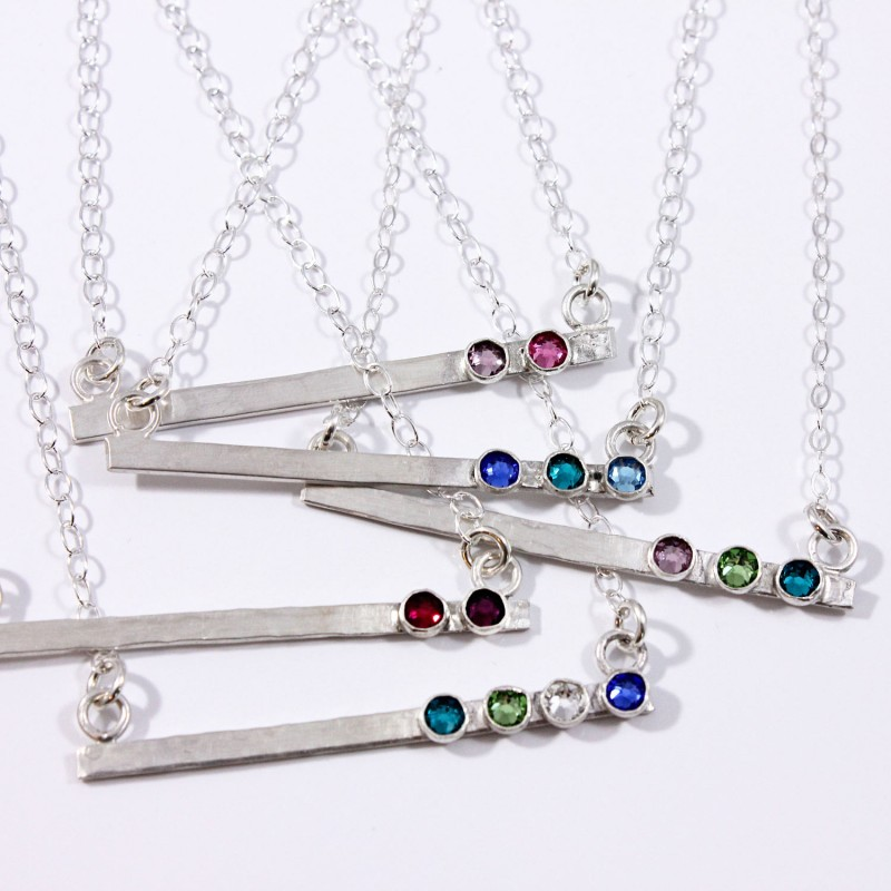 Skinny Birthstone Bar Necklace Mother S Day Gift Silver