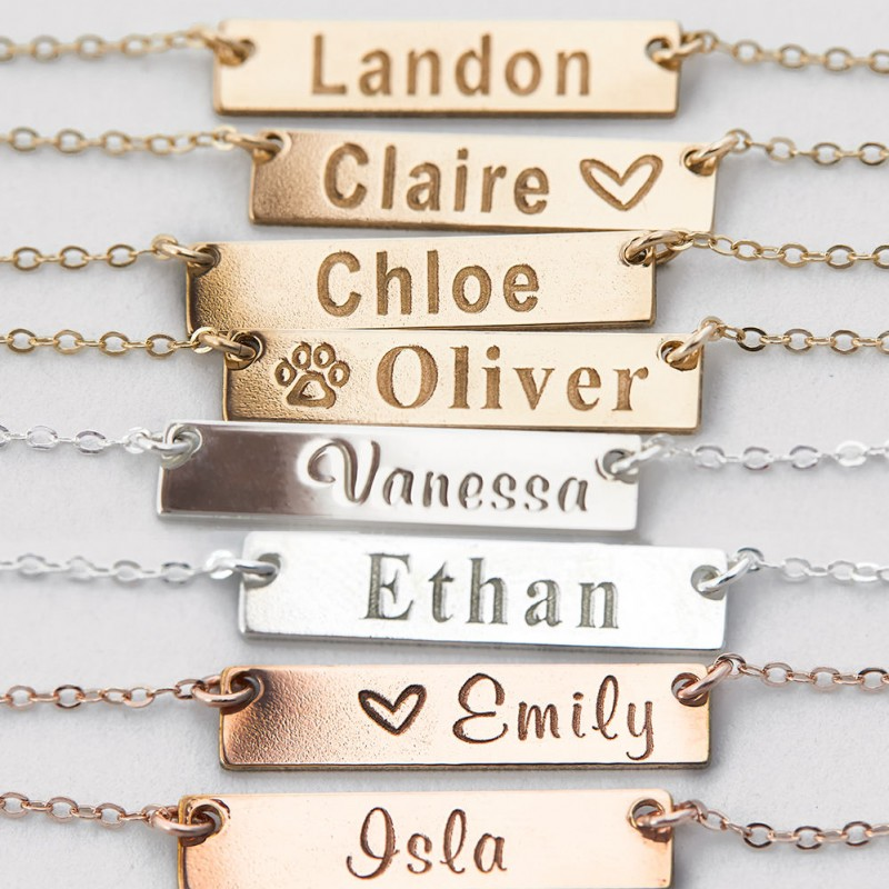 7d5962002f319 Small Name Necklace, Gold Bar Necklace, Custom Names, Initials ...