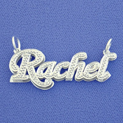 Small Size Silver Personalized Double Plate Name Pendant Necklace SD02