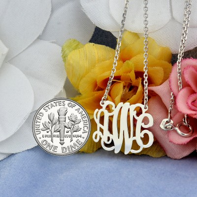 Small Sterling Silver 3 Initials Monogram Necklace 3/4 inch wide SM30C