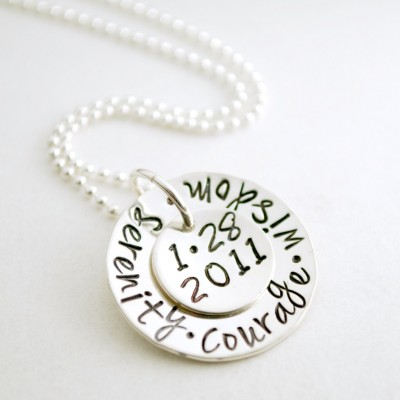 Sobriety Anniversary Serenity Courage Wisdom Custom Date Sobriety Necklace Hand Stamped Sterling Silver Sober Anniversary