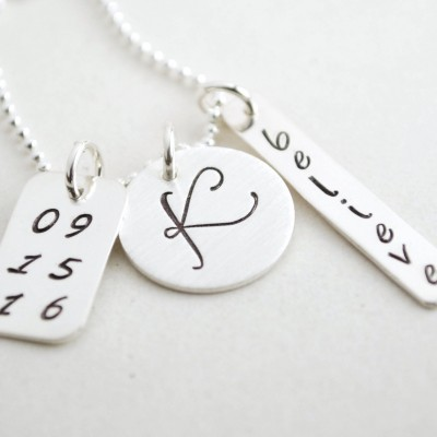 Sobriety Necklace Anniversary Custom Initial Necklace for Women Hand Stamped Believe Jewelry Recovery Gift