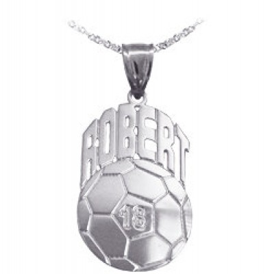 Soccer Sport Charm 1 1/4 Inch Personalized with Name and Number - Sterling Silver - Made in USA