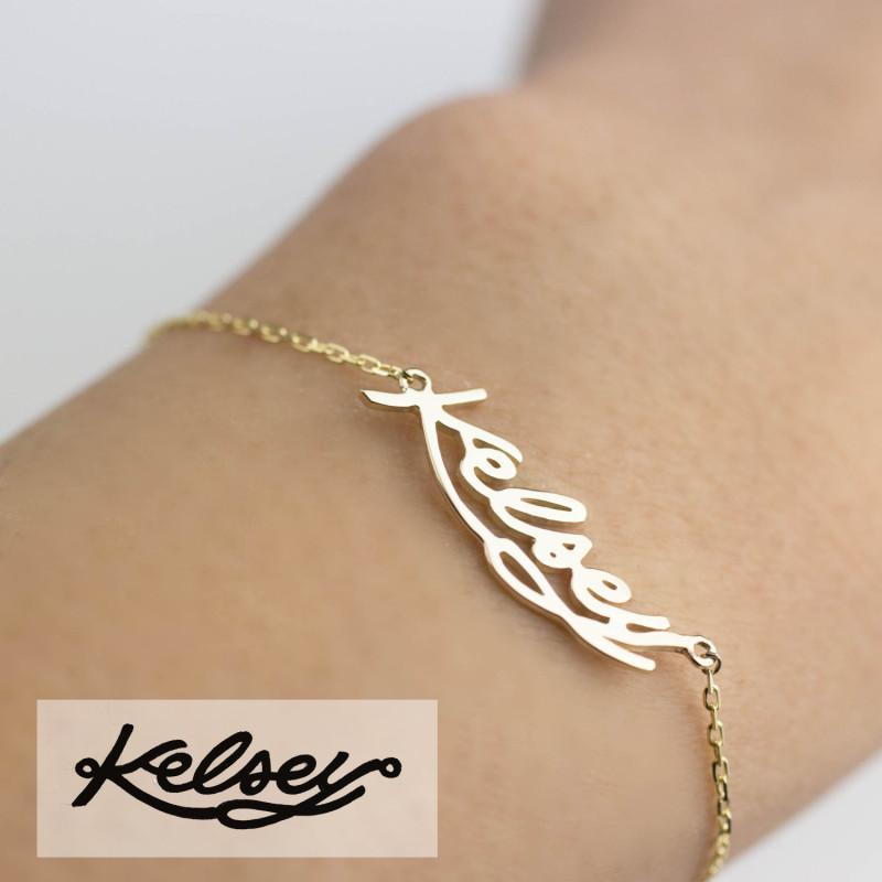 Solid 18k Gold Personalized Bracelet Name Braclet Script Mantra Rose White Option