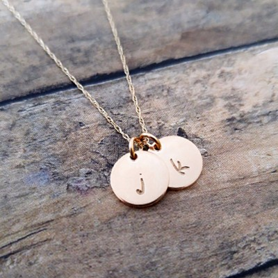 Solid Gold Initial Necklace, Personalized Necklace, Gold Pendant Necklace, 18k gold, Initial Jewelry, Mothers Necklace, Gold Initial Discs
