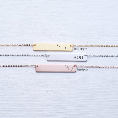 Sorority Personalized Bar Necklace Custom Name Big Dipper Little Dipper Personalized Necklace Rose Gold Silver Best Friend Gift for Friend