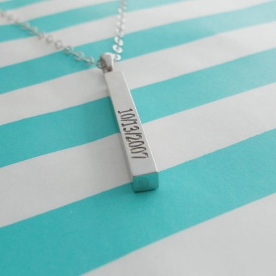 Special Date Bar Necklace,Vertical BirthdayBar Necklace,Long White Gold Bar Pendant,Personalized Wedding Day Necklace,Bridesmaid Gift