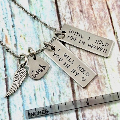 Sterling Silver Personalized Child Loss Necklace, I Will Hold You In My Heart, Memorial Necklace, Baby Loss, Miscarriage, Angel Wing, Grief