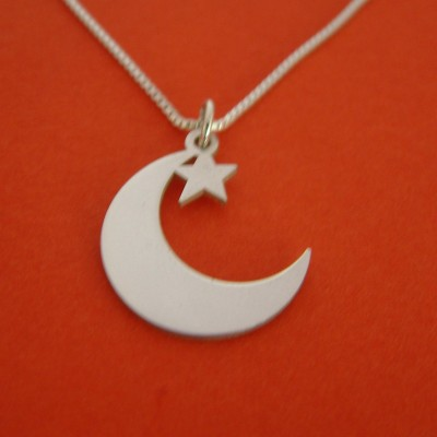 Star and Crescent Necklace Silver Half Moon Necklace Islamic Necklace Star Crescent Necklace Arab Jewelry Star Crescent Necklace