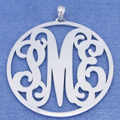 Sterling Silver 3 Initials Circle Monogram Pendant Necklace Jewelry 1 1/2 inch SM44