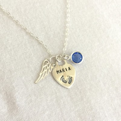 Sterling Silver Angel Wing Necklace, Personalized Angel Wing, Infant Loss Necklace, Memorial Necklace, Baby Feet Necklace, Baby Loss