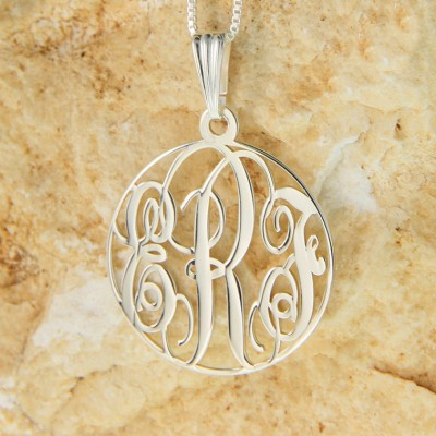 "Sterling Silver Circle Monogram Necklace 1.2"" with chain"
