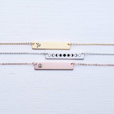 Sterling Silver Moon Phases Necklace Personalized Jewelry Bar Necklace Bridesmaid Gift for Her Rose Gold Girlfriend Gift for Best Friend