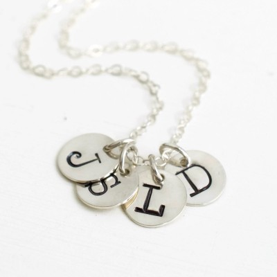 Sterling Silver Mothers Initial Necklace with Four Initial Charms / Personalized Hand Stamped Multi Initial Necklace / Choose Chain Length
