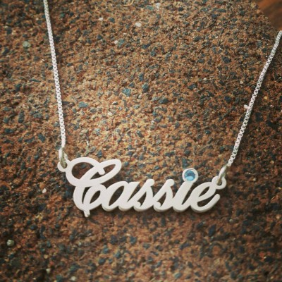 Sterling Silver Name Necklace / Birthstone necklace / ORDER ANY NAME / personalized jewelry / custom made name neckless / Birthday Gift