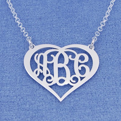 "Sterling Silver Personalized 3 Initials Heart Monogram Necklace Fine Jewelry 1"" Wide SM56C"