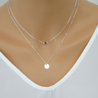 Sterling Silver Ruby and round disc layered necklace set, Genuine Ruby necklace,July Birtstone necklace, Rose gold fil, 14 k gold fill