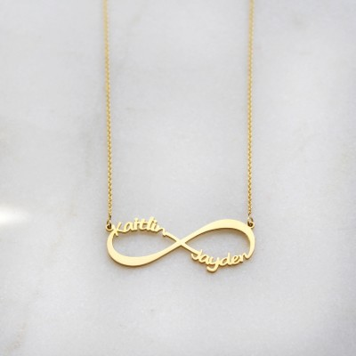 Sterling Silver/Gold-Plated Personalized Infinity Necklace