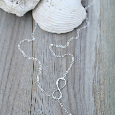 Sterling silver infinity Initial lariat Necklace, crystal clear, aquamarine, seafoam green, mint, personalized custom stamped, beach wedding