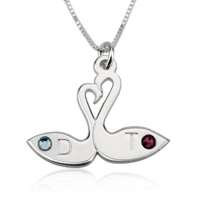 Swans Love Necklace Engraved Custom Name initial New Personalized Women Birthstone Swarovski Crystal Jewelry Design Gift