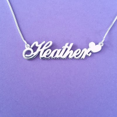 Sweet 16 Gift Name Necklace Silver Name Plate Necklace Birthday Gift Name Necklace With Name Necklace Heart Nameplate For Her Romantic