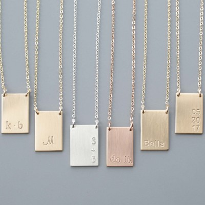 Tag Necklace // Engraved Rectangle Necklace, Personalized Name Plate, Personalized Jewelry, Engraved Jewelry, Gold, Silver,Rose Gold // N172