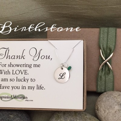 Thank you gift for friend - Baby Shower Hostess Gift Bridal Shower Hostess Gift Host Maid of Honor Gift Sterling Silver Birthstone Necklace