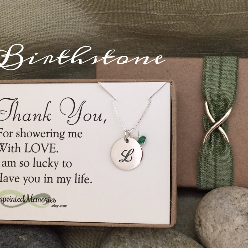 thank you gift for friend baby shower hostess gift bridal shower hostess gift host maid of honor gift sterling silver birthstone necklace
